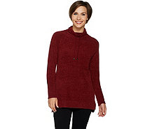 Isaac Mizrahi Live! SOHO Drawstring Funnel Neck Tunic Sweater - A298800