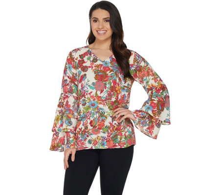 Linea by Louis Dell'Olio Exotic Floral Print Top