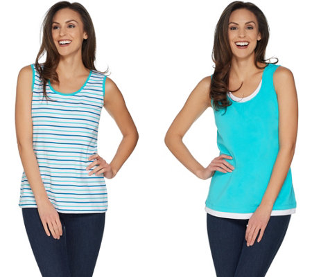 Denim & Co. Set of 2 Stripe & Solid Knit Tank Tops