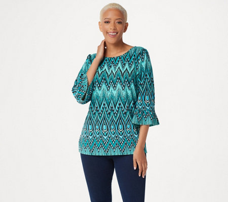 Bob Mackie's Peacock Feather Printed Knit Top with Ruffle Sleeves