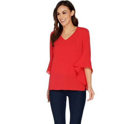 Belle by Kim Gravel V-Neck Bell Sleeve Stretch Crepe Top