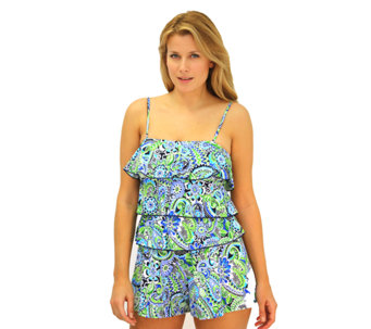 Fit 4 U Hips Whimsical Paisley Three-Tiered Romper - A332200