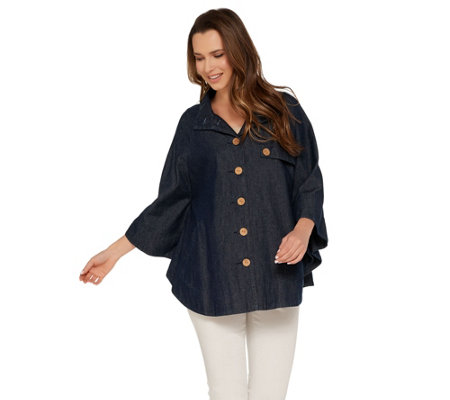 """As Is"" Joan Rivers Button Front Denim Cape"