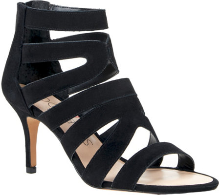 Sole Society Suede Caged Heeled Sandals - Adrielle
