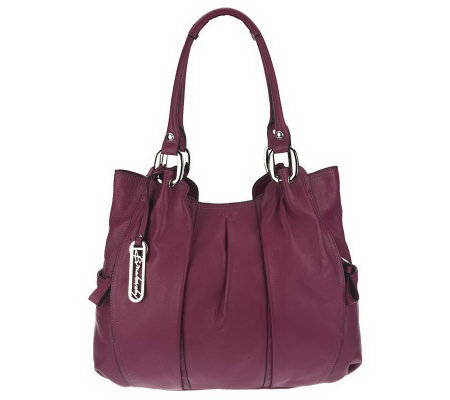 B. Makowsky Leather Tote with Pleating Detail and Logo Hardware