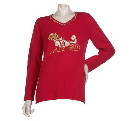 Quacker Factory White Christmas Sweater - Page 1 — QVC.com