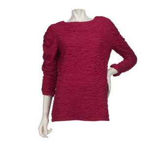 Susan Graver Stretch Knit 3/4 Sleeve Top with Bateau Neck - A221301