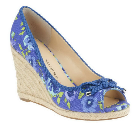 Isaac Mizrahi Live! Pansy Print Or Solid Wedges with Braid Trim