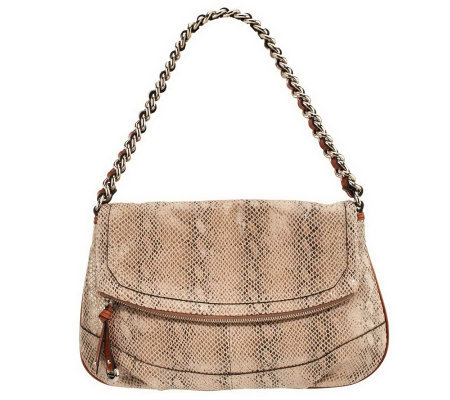 B. Makowsky Leather Shoulder Bag with Chain Detail
