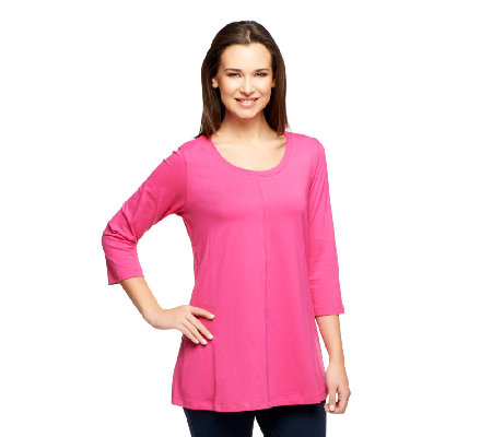 Denim & Co. 3/4 Sleeve A-Line Shape Knit Tunic
