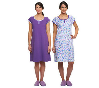 Carole Hochman Floral Garden 2 Pack Sleep Shirt Set with Shelf Bra - A230101