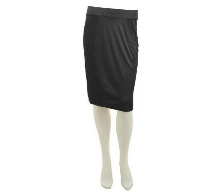 George Simonton Pull-On Knit Pencil Skirt with Side Lace Insets