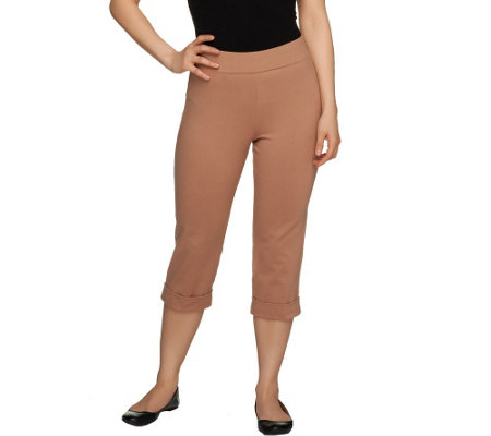 Women with Control Regular Capri Pants with Cuff Detail
