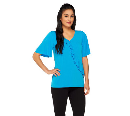 Susan Graver Liquid Knit Top w/ Asymmetrical Ruffle and Flutter Sleeve
