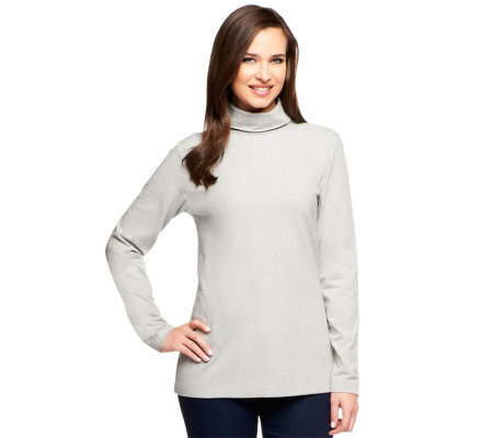 Denim & Co. Essentials Knit Long Sleeve Turtleneck