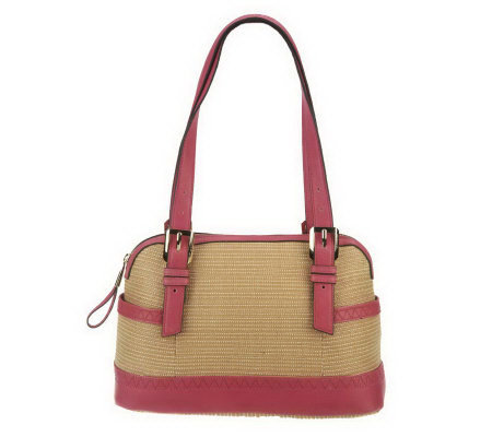 """As Is"" B. Makowsky Straw Satchel with Glove Leather Trim"