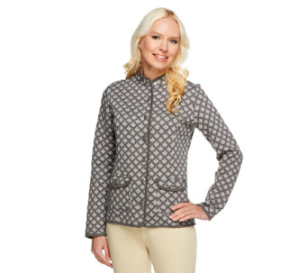 Isaac Mizrahi Live! Two-Tone Quilted Knit Jacket - A239601