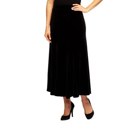 """As Is"" Susan Graver Stretch Velvet Pull-on 6 Gored Long Skirt"