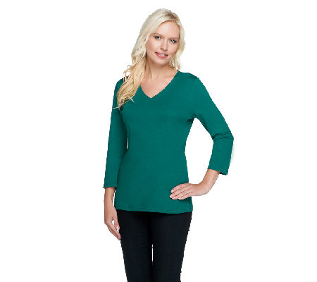 Liz Claiborne New York Essentials 3/4 Sleeve V-Neck Top