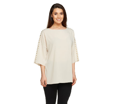 Susan Graver Stretch Peach Crepe de Chine Tunic with Studded Detail