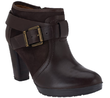 Clarks Artisan Leather Ankle Boots w/ Buckle - Lida Dallas
