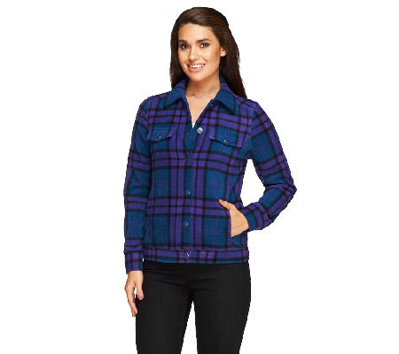 Isaac Mizrahi Live! Plaid Button Front Fleece Jacket