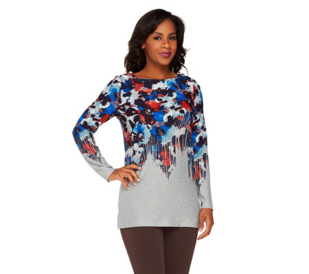 George Simonton Floral Printed Sweater Knit Top