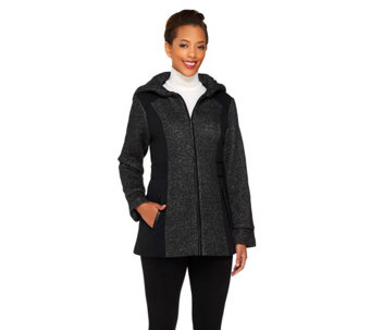 Susan Graver Color-Block Knit Jacket w/ Hood & Faux Leather Trim - A260801