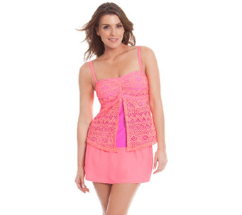 Liz Claiborne New York Crochet Flyaway Skirtini Swimsuit - A263701
