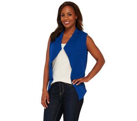 Lisa Rinna Collection Open Front Tiered Vest with Pockets