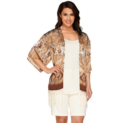 Susan Graver Printed Crinkled Woven Kimono with Fringe Detail