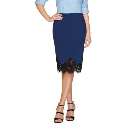 G.I.L.I. Milano Ponte Pencil Skirt with Scalloped Lace Trim