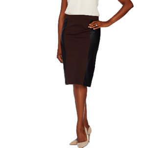 Susan Graver Ponte Comfort Waist Pull-On Skirt w/ Faux Leather Panels - A268001