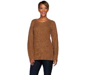 Lisa Rinna Collection Mixed Stitch Sweater with Side Slits - A268101