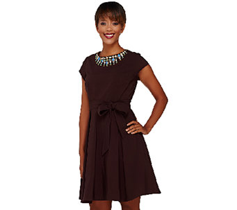Isaac Mizrahi Live! Special Edition Embellished Neckline Dress - A268401