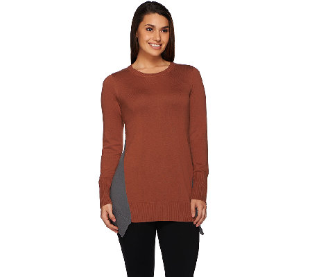 LOGO by Lori Goldstein Cotton Cashmere Sweater with Color-Block Dtl