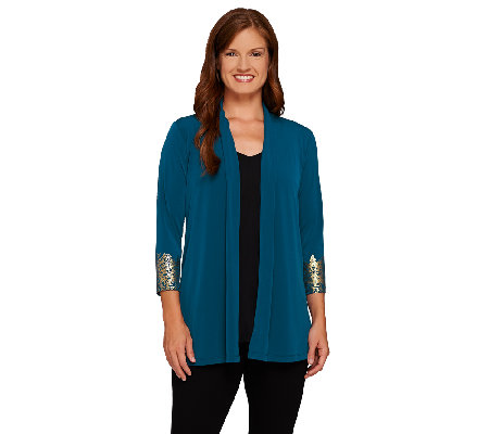 Susan Graver Liquid Knit 3/4 Sleeve Cardigan w/ Printed Cuffs