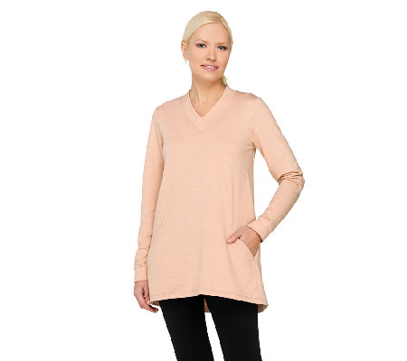 """As Is"" LOGO by Lori Goldstein French Terry V-neck Tunic with Pockets"