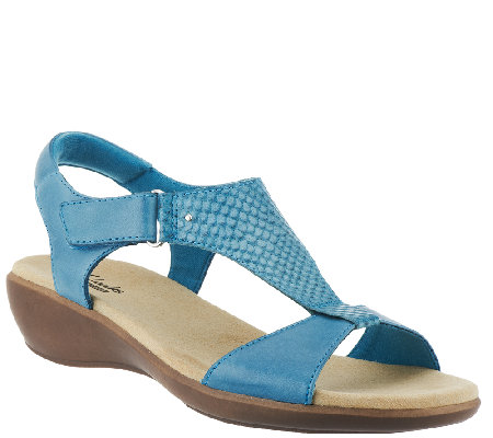 """As Is"" Clarks Leather T-Strap Sandals w/ Adj. Strap - Roza Pine"