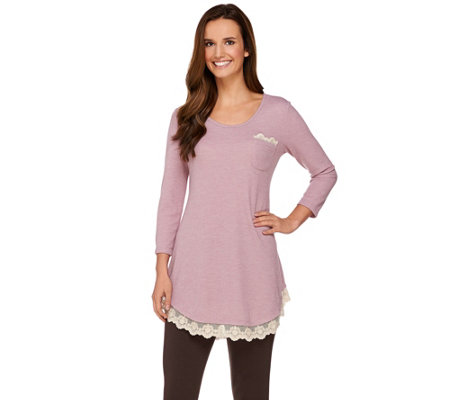 LOGO by Lori Goldstein Knit Top with Lace Detail