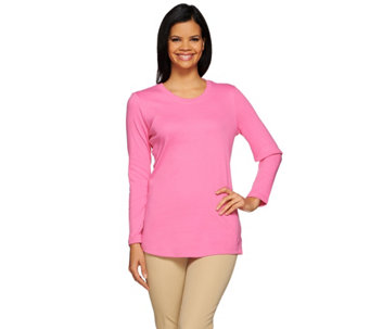 Isaac Mizrahi Live! Essentials Scoop Neck Long Sleeve T-Shirt - A272501