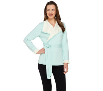 Isaac Mizrahi Live! Bi-Color Wrap Cardigan with Belt - A272601