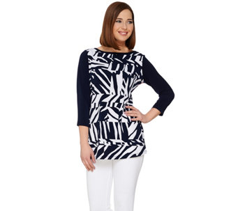 Susan Graver Printed Liquid Knit Top with Solid Back and Sleeves - A275201