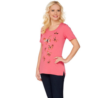 Quacker Factory Butterfly Print and Sequin Short Sleeve T-shirt