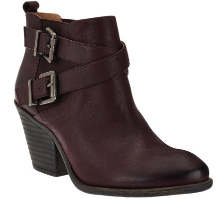"""As Is"" Sole Society Leather Ankle Boots w/ Buckle Detail - Maris"
