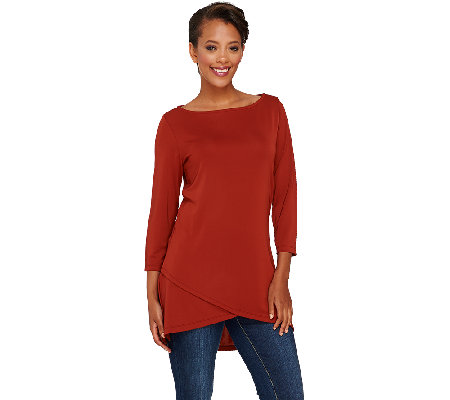 """As Is"" Susan Graver Premier Knit 3/4 Sleeve Bateau Neck Top w/Crossover Hem"