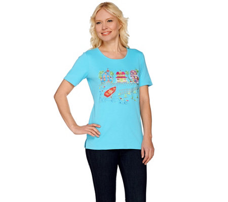Quacker Factory Summer Scenes Embroidered Short Sleeve T-shirt