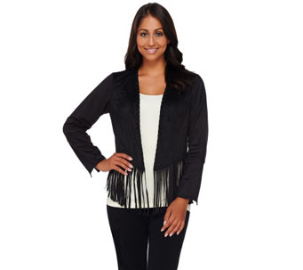"""As Is"" Bob Mackie's Faux Suede Open Front FringeJacket - A277301"