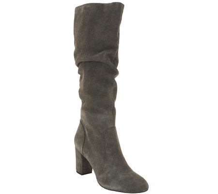 """As Is"" H by Halston Tall Shaft Suede Boots with Heel - Sarah"