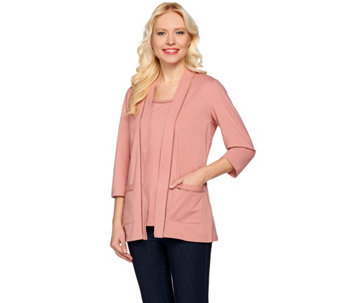 Denim & Co. Open Front Cardigan and Tank Set with Novelty Trim - A278601